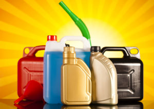 different car fluid bottles